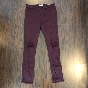 Pacsun Womens Maroon Jeggings Jeans Skinny Stretch